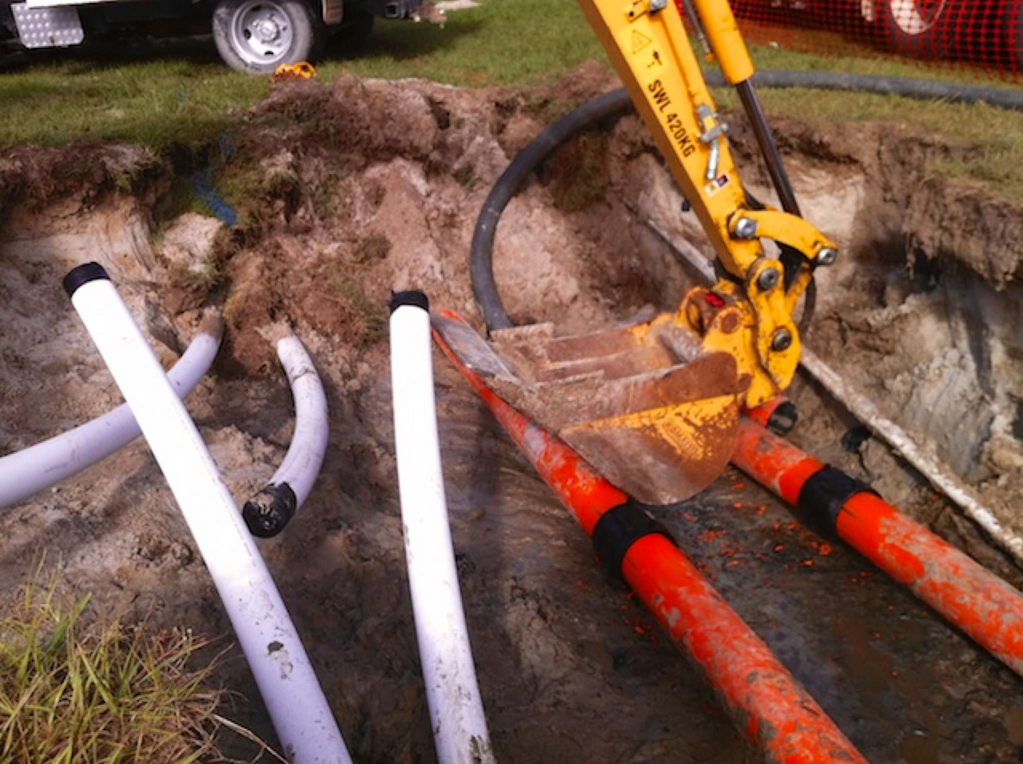 different kinds of pipes on the ground