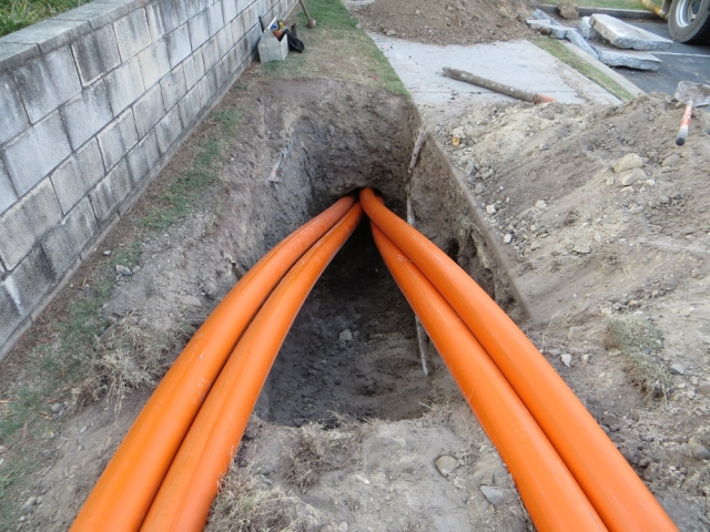 Horizontal drilling install of conduit for Power
