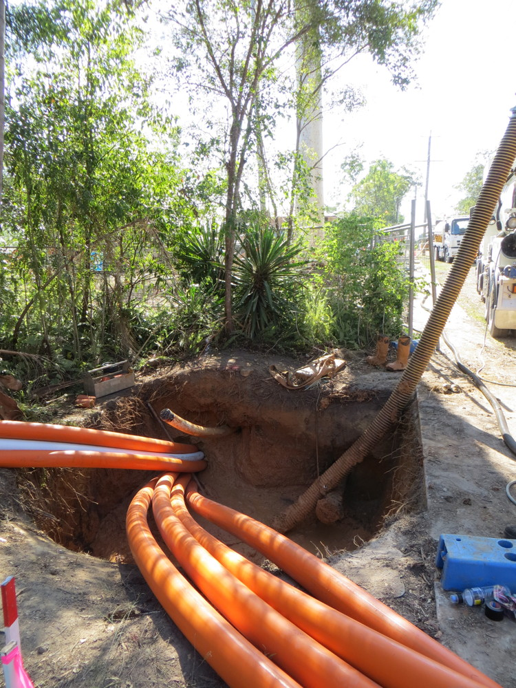 Under road drilling install of Power Services