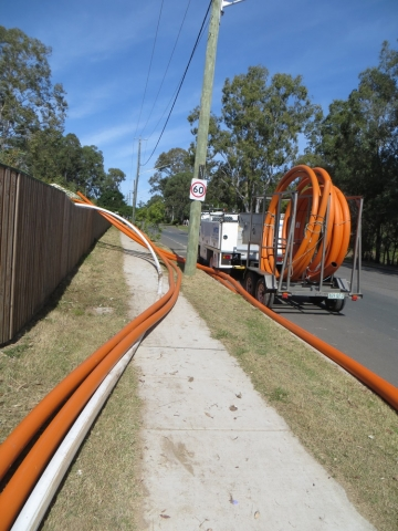 Under road drilling install of conduit for Power