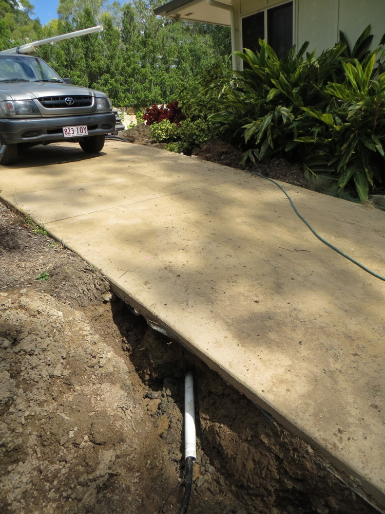 Drilling under driveway for power conduit - HTD Australia